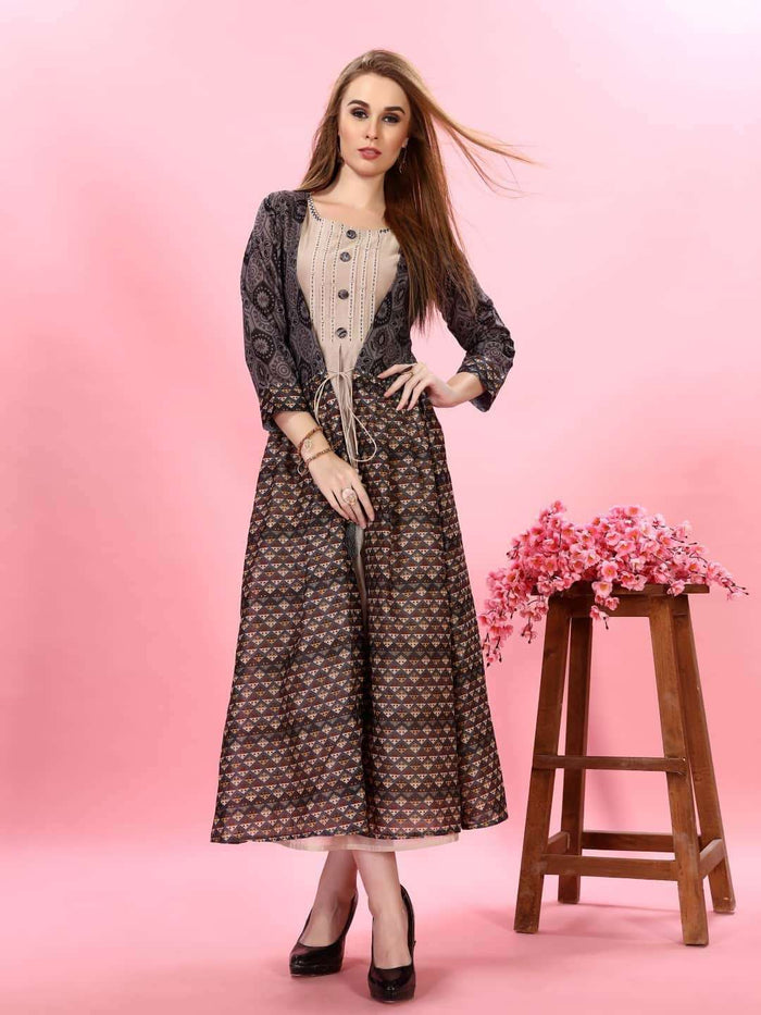 Cream Plain Rayon Kurti with Long Jacket