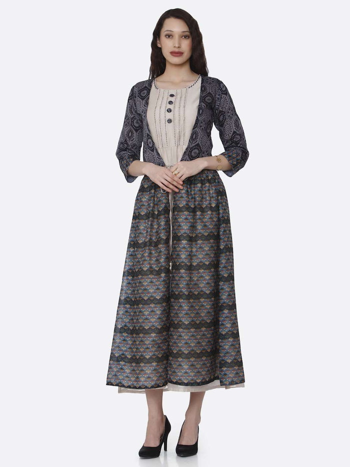 Casual Cream Plain Rayon Kurti with Long Jacket