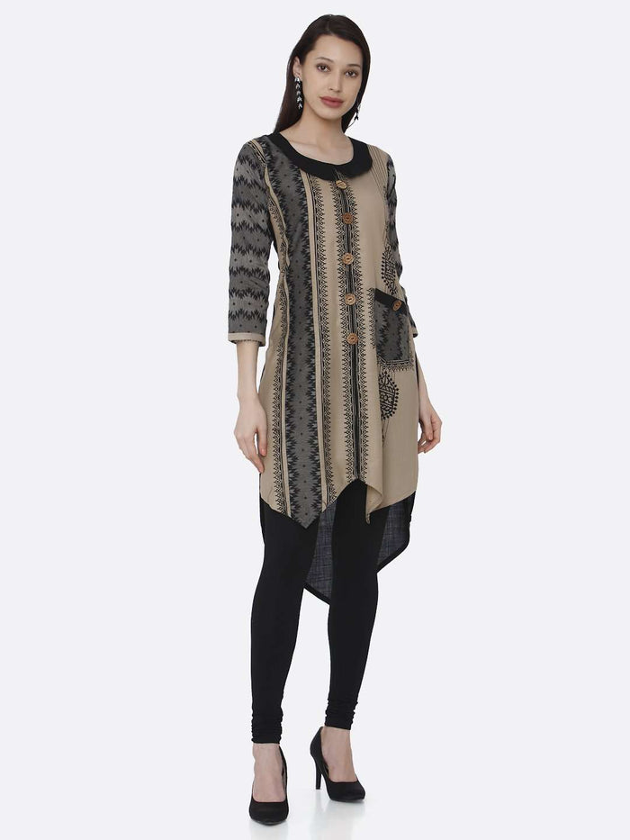 Casual Chanderi Print Kurti With Cream & Black Color