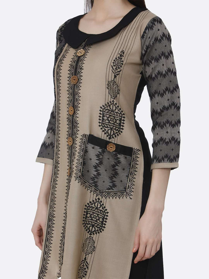 Left Side Cream and Black Chanderi Print Kurti