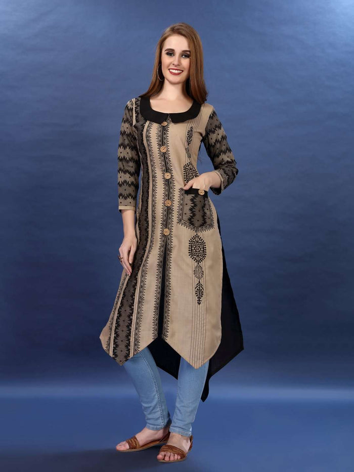 Front Side Cream and Black Chanderi Print Kurti With Jeans Palazzo Pant