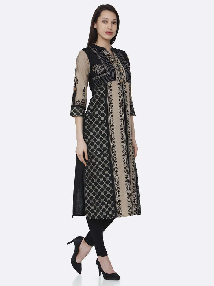 Right Side Cream and Black Chanderi Print Kurti With Black Palazzo Pant