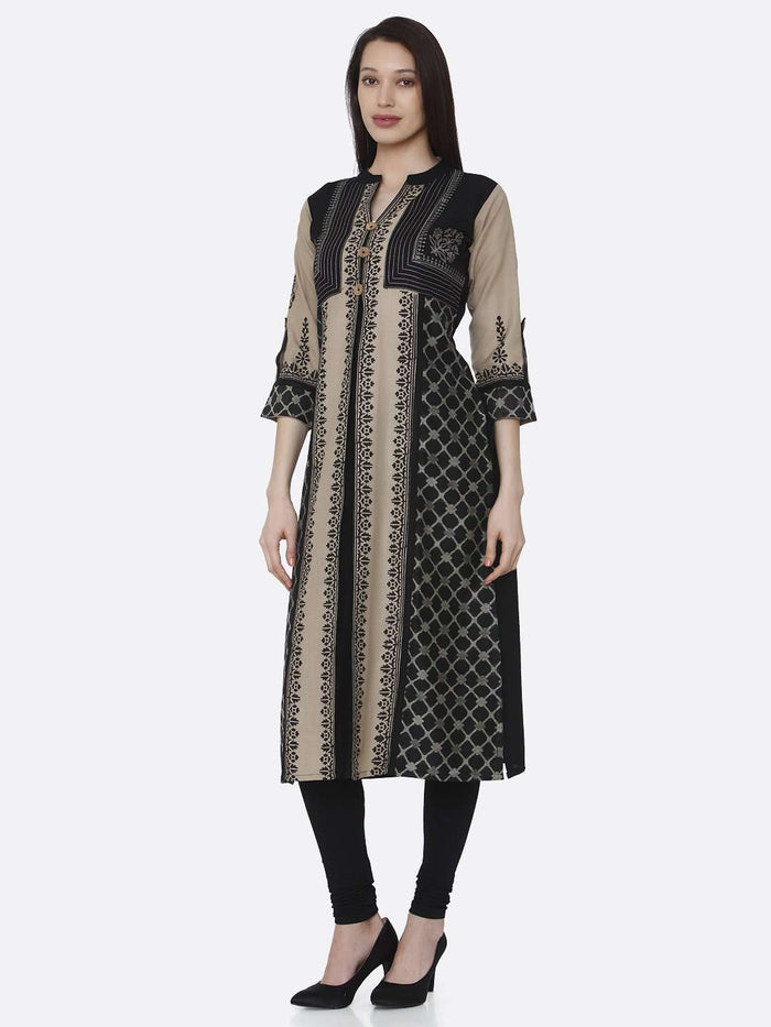 Left Side Cream and Black Chanderi Print Kurti With Black Palazzo Pant