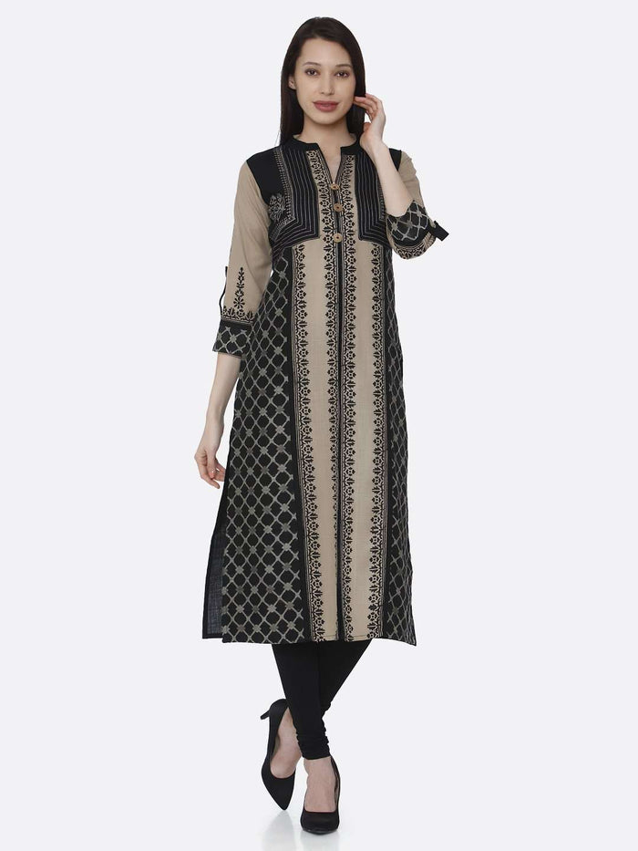 Front Side Cream and Black Chanderi Print Kurti