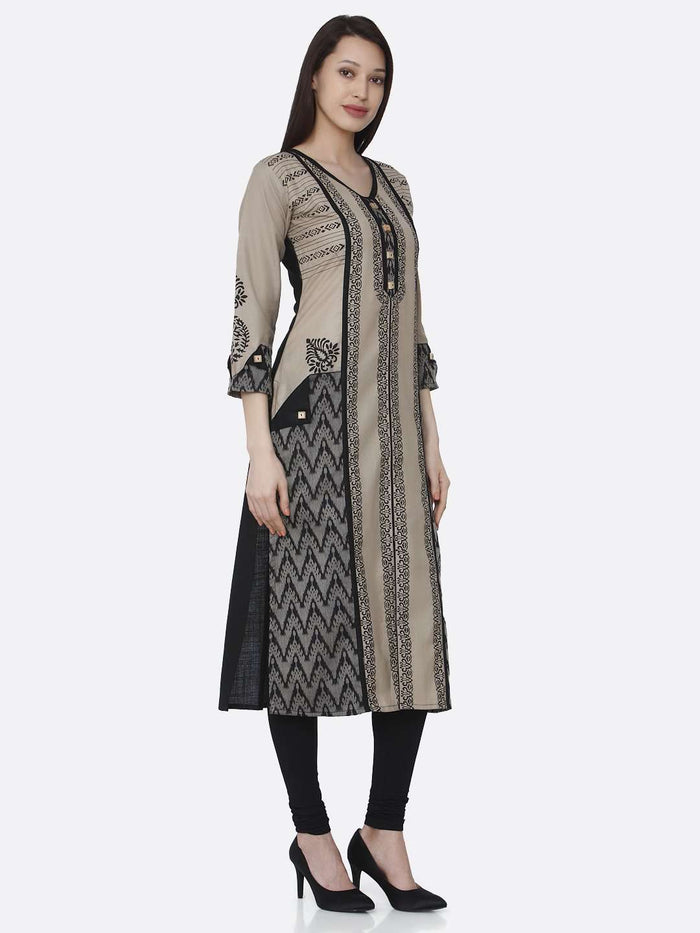 Right Side Cream & Black Chanderi Print Kurti With Black Palazzo Pant