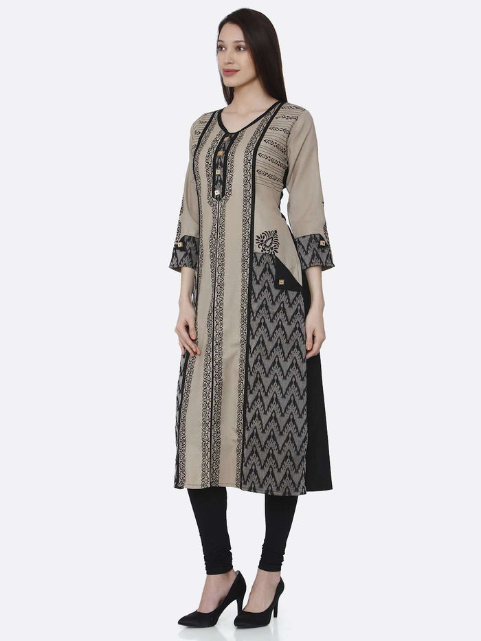 Left Side Cream & Black Chanderi Print Kurti With Black Palazzo Pant