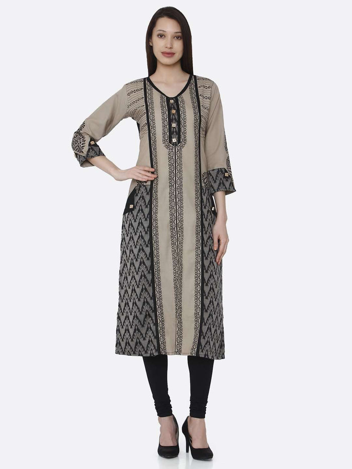 Front Side Cream and Black Chanderi Print Kurti With Black Palazzo Pant
