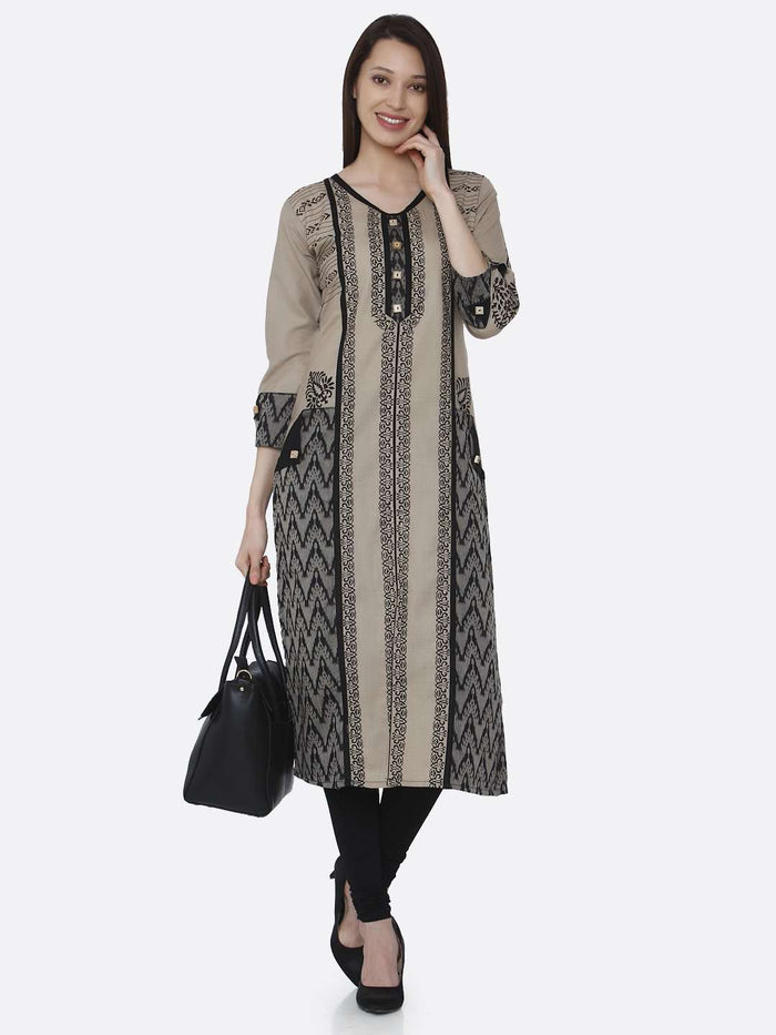 Casual Cream & Black Chanderi Print Kurti With Black Palazzo Pant