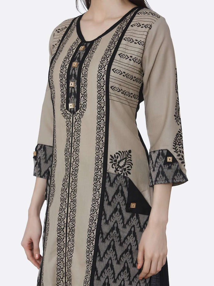 Front Side Chanderi Print Kurti With Cream & Black Color