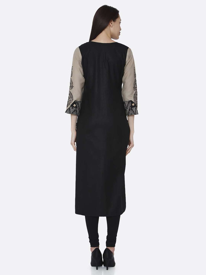 Back Side Cream & Black Chanderi Print Kurti With Black Palazzo Pant