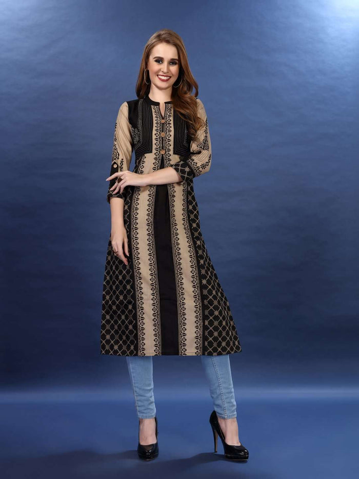 Front Side Cream and Black Chanderi Print Kurti With Denim Palazzo Pant