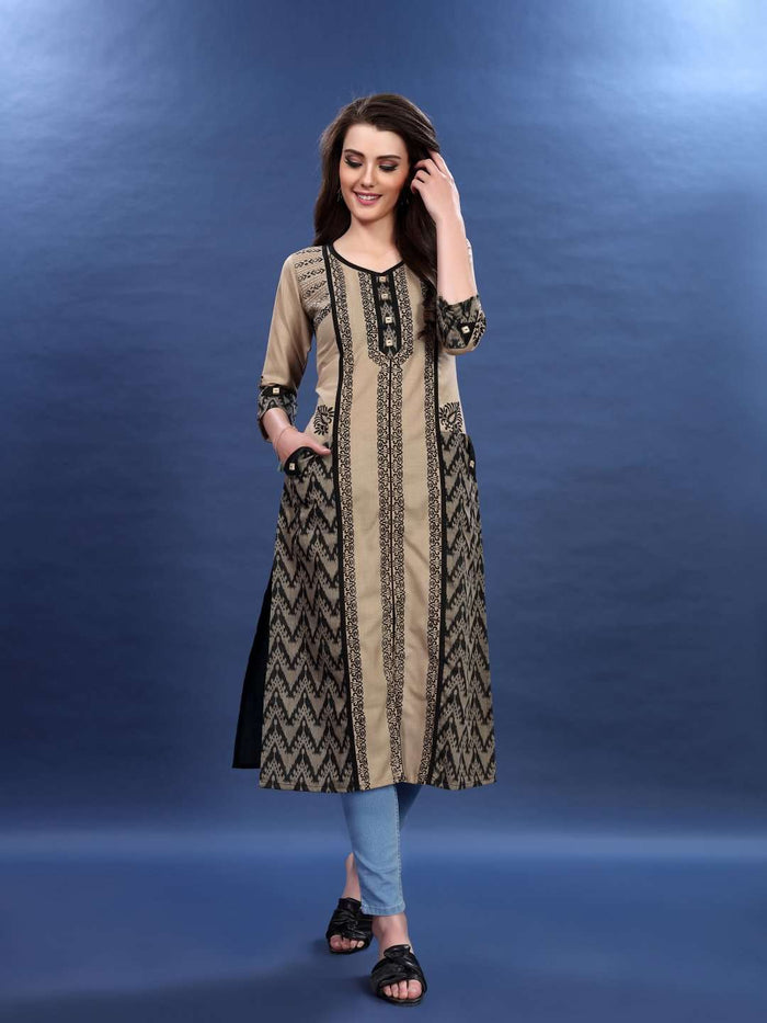 Front Side Cream and Black Chanderi Print Kurti with Jeans Pant