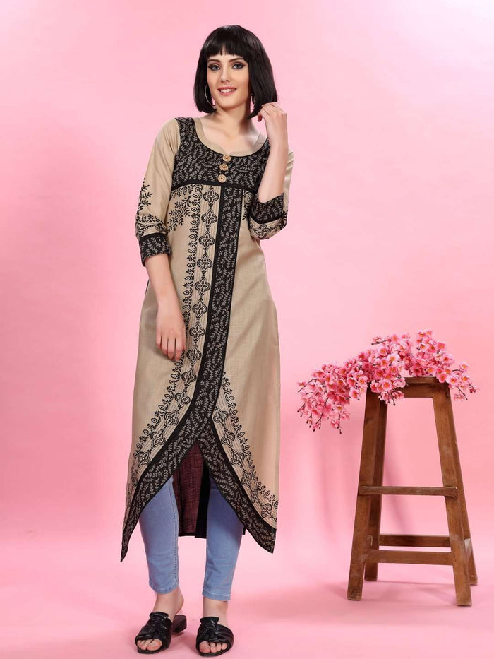Cream and Black Chanderi Print Kurti