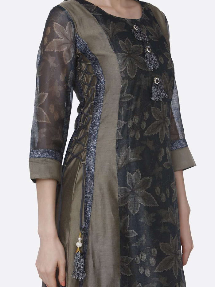 Right Side Cream and Grey Chanderi Printed Long Kurti
