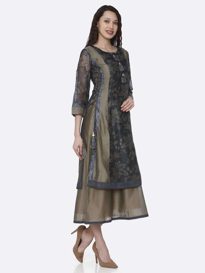 Right Side Chanderi Printed Long Kurti With Cream & Grey Color