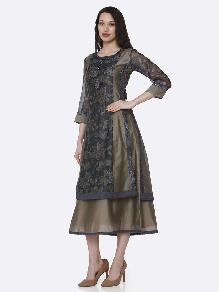 Left Side Chanderi Printed Long Kurti With Cream & Grey Color