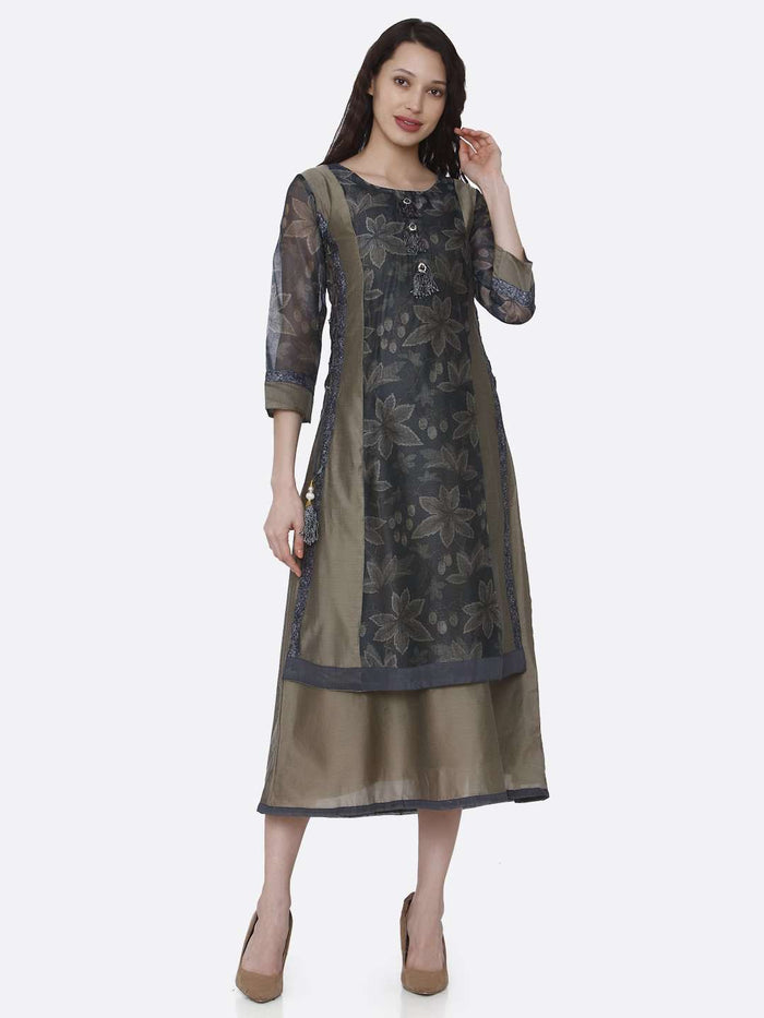 Front Side Cream and Grey Chanderi Printed Long Kurti