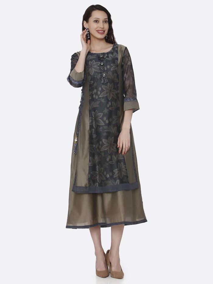 Casual Chanderi Printed Long Kurti With Cream & Grey Color
