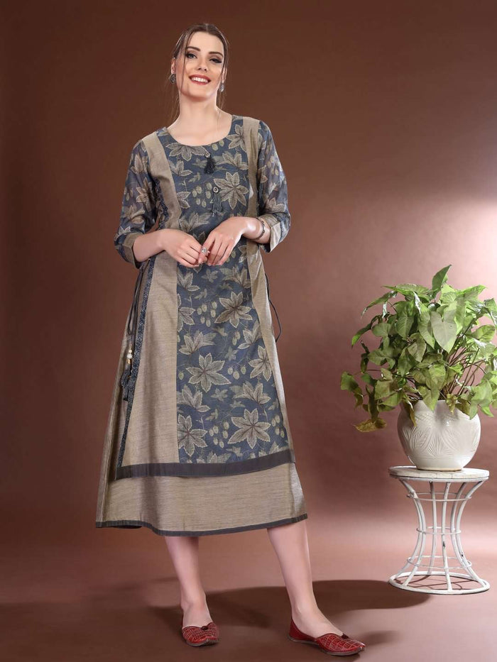 Front Side Chanderi Printed Long Kurti With Cream & Grey Color