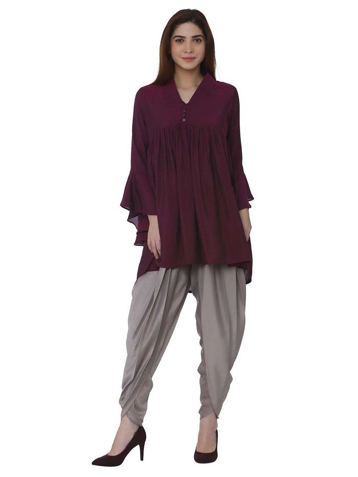 Front Side Wine Grey Polyester Dhoti Set With Purple Kurti