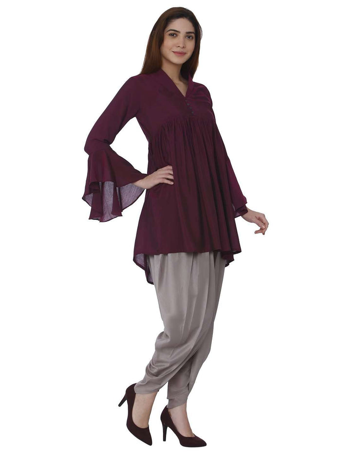 Right Side Polyester Dhoti Set With Wine Grey Color