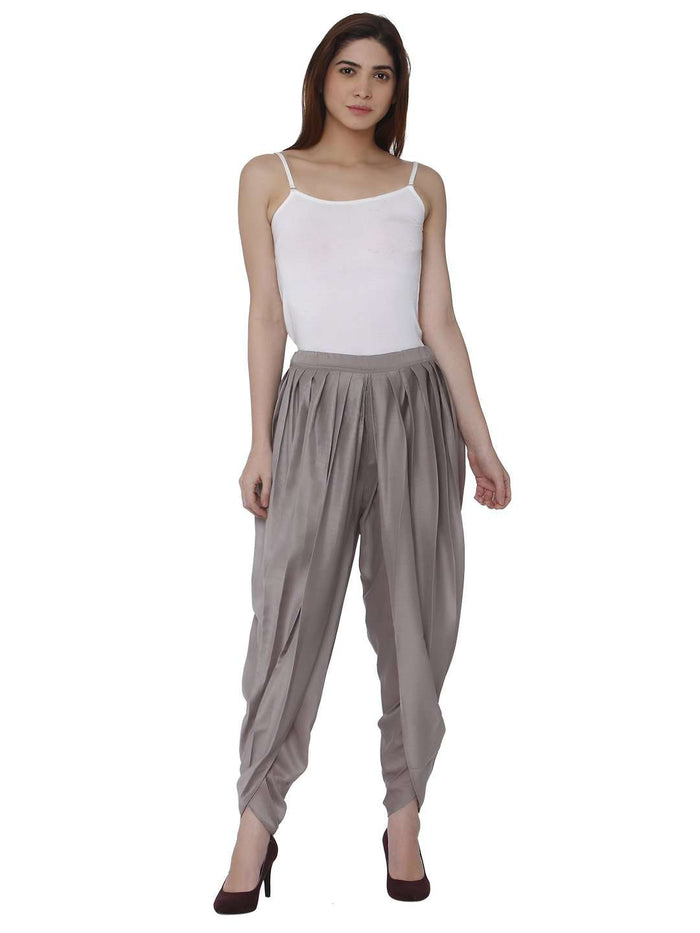 Wine Grey Polyester Dhoti Set