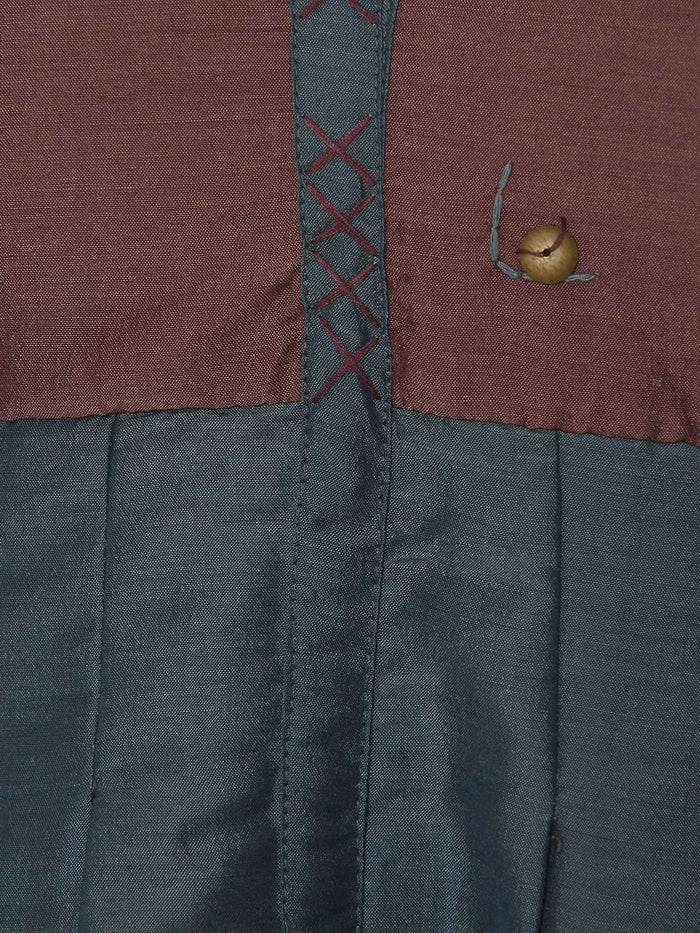 Dusty Pink Green Chanderi Plain Flared Tunic