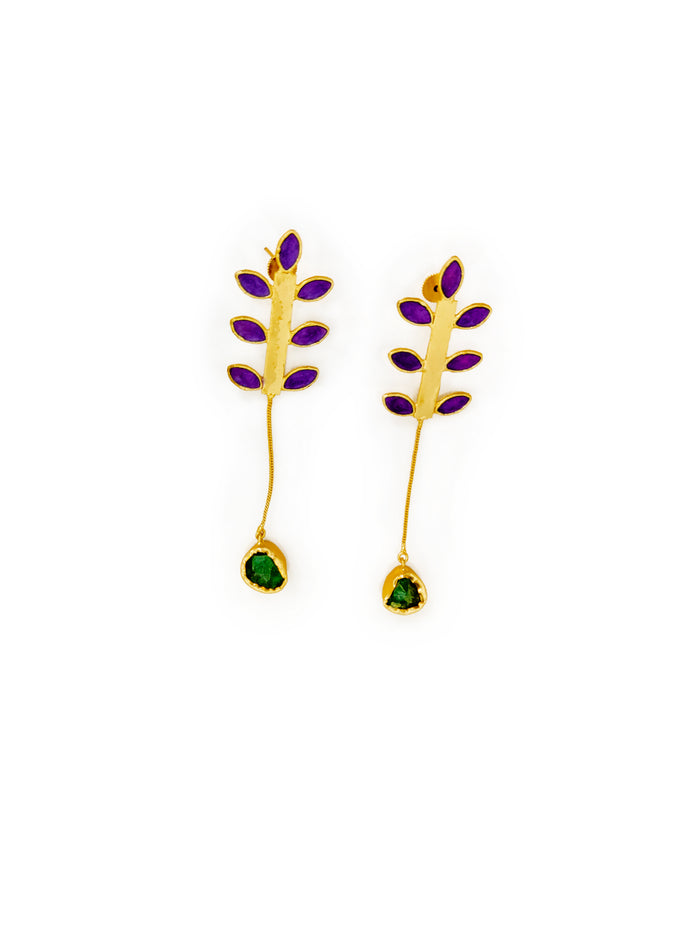 Gold Plated Contemporary Drop Earring