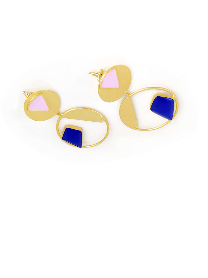 Gold Plated Contemporary Circular Drop Earring