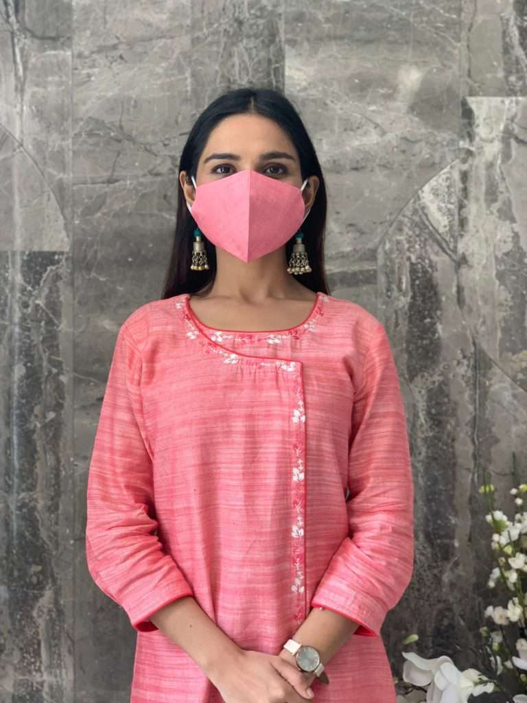 Cotton Double Layered Face Mask With Pink Color