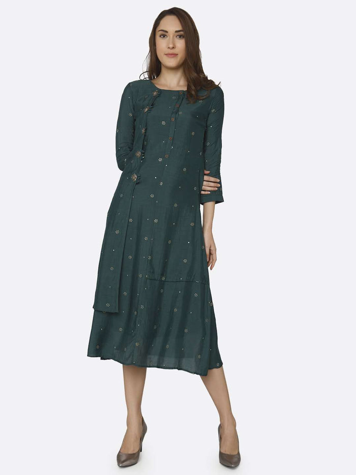 Full Front Side Casual Embroidered Muslin Georgette Kurti With Green Color