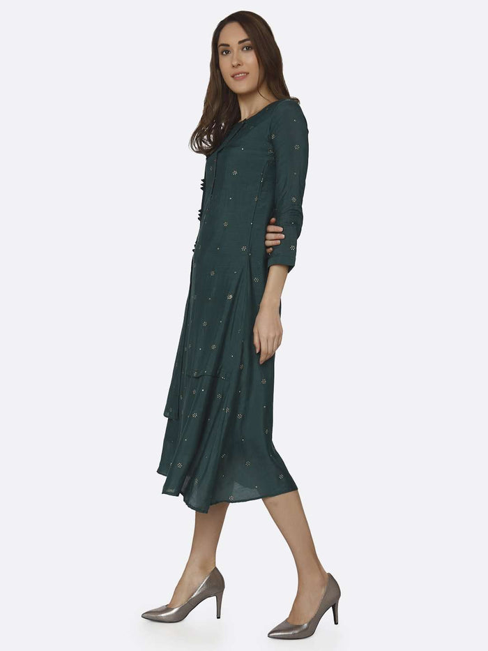 Left Side Embroidered Muslin Georgette Kurti With Green Color