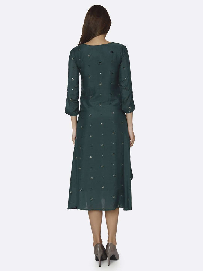 Back Side Embroidered Muslin Georgette Kurti With Green Color