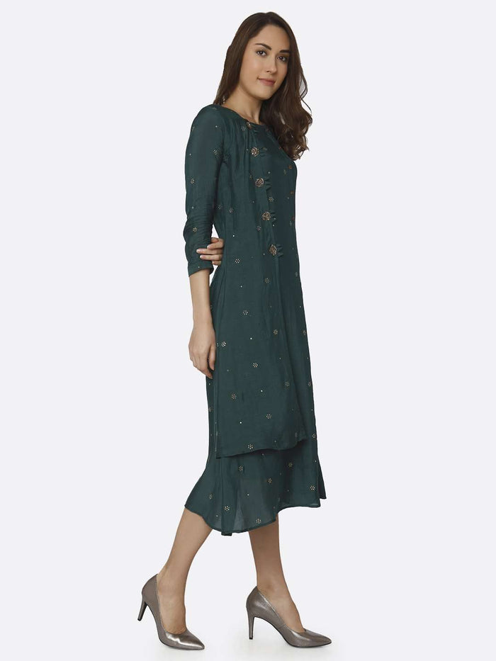 Right Side Embroidered Muslin Georgette Kurti With Green Color