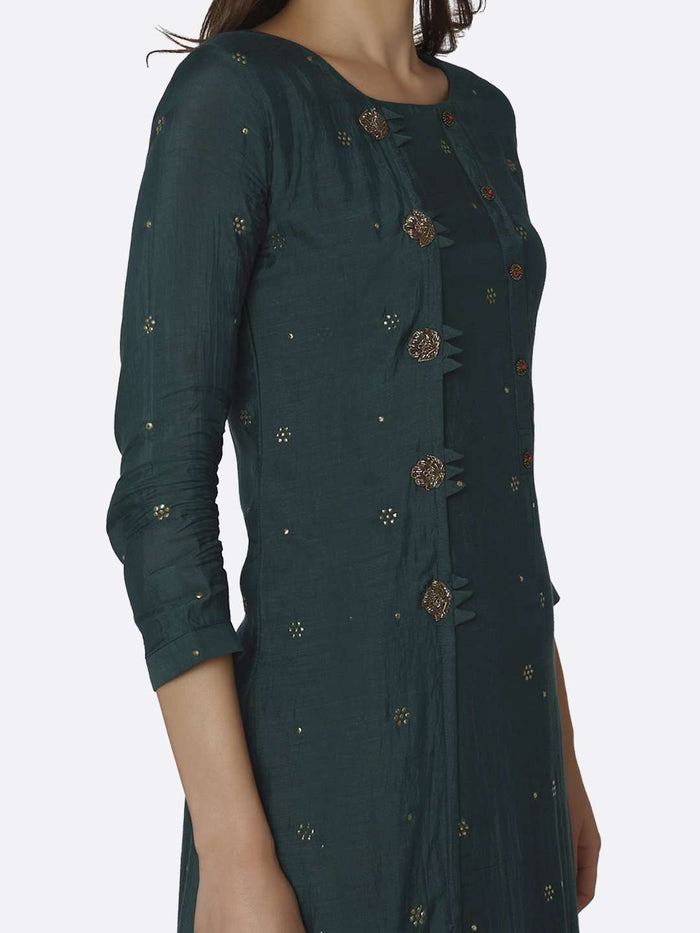 Right Side Green Embroidered Muslin Georgette Kurti