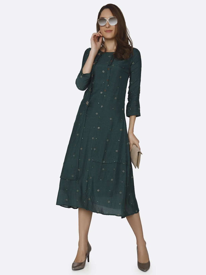 Full Front Side Green Embroidered Muslin Georgette Kurti