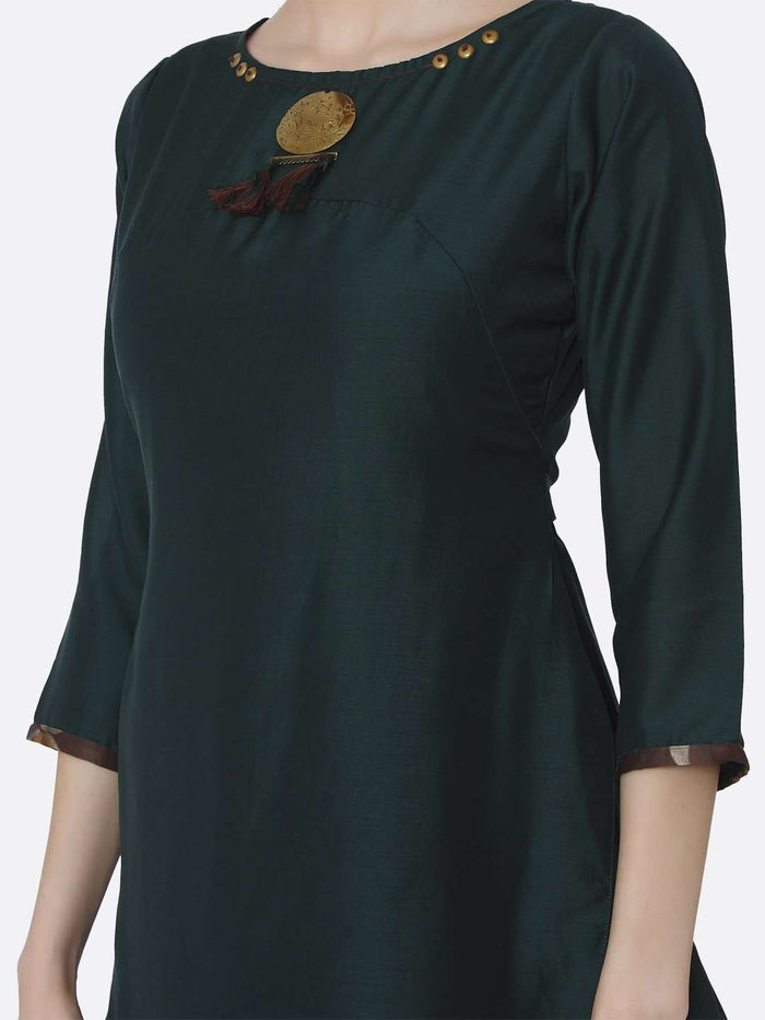 Front Side Green Plain Viscose Asymmetric Tunic