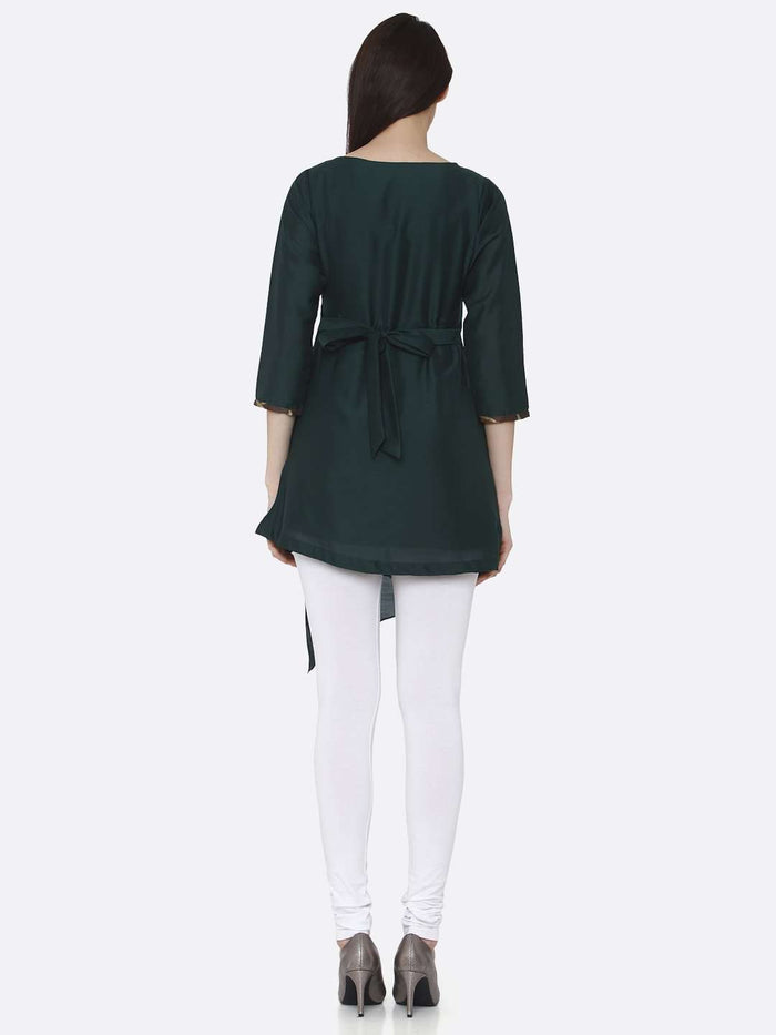 Back Side Green Plain Viscose Asymmetric Tunic With White Palazzo