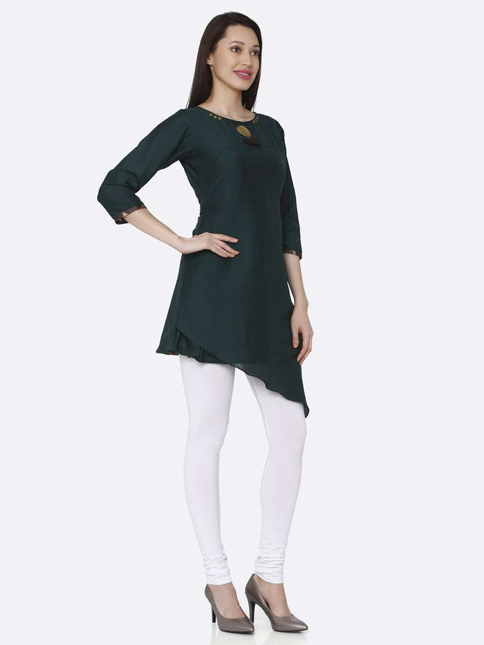 Right Side Green Plain Viscose Asymmetric Tunic With White Palazzo