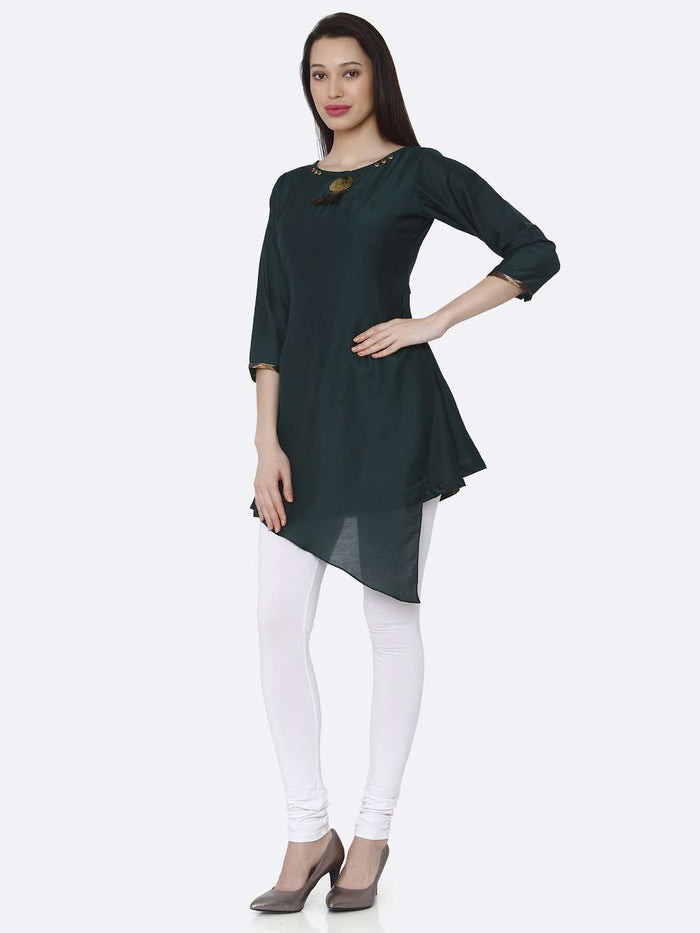 Left Side Green Plain Viscose Asymmetric Tunic With White Palazzo