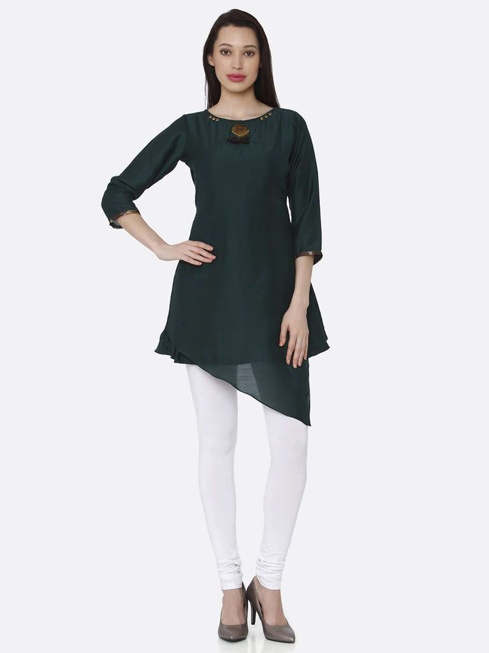 Full Front Side Green Plain Viscose Asymmetric Tunic With White Palazzo