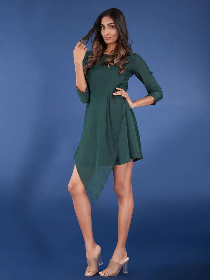 Front Side Plain Viscose Asymmetric Tunic With Green Color
