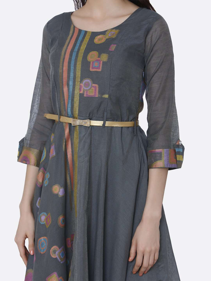 Left Side Chanderi Cotton Jacquard Dress With Grey Color