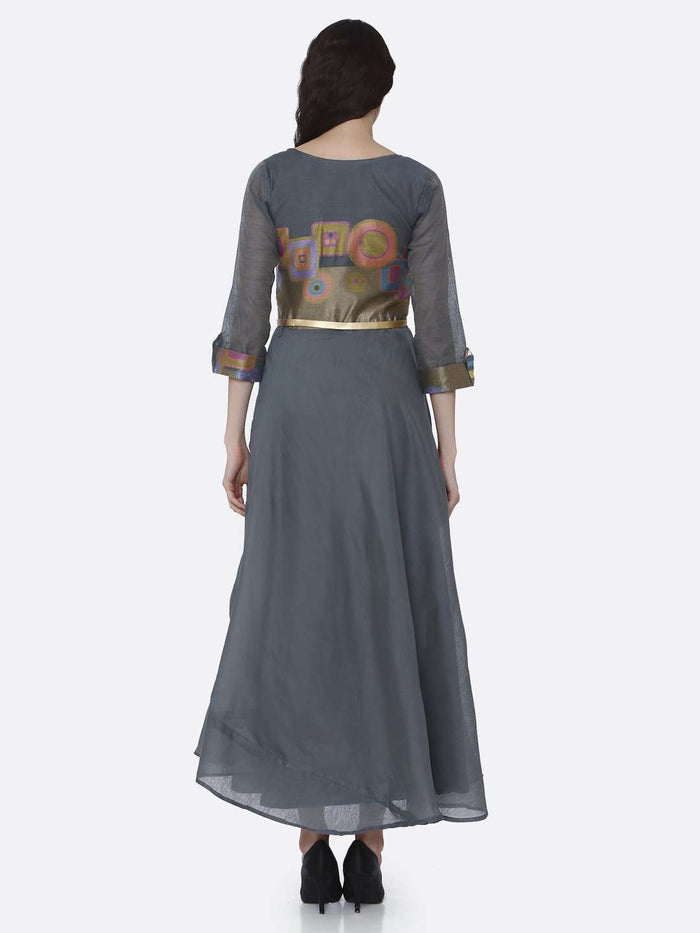 Back Side Grey Chanderi Cotton Jacquard Dress