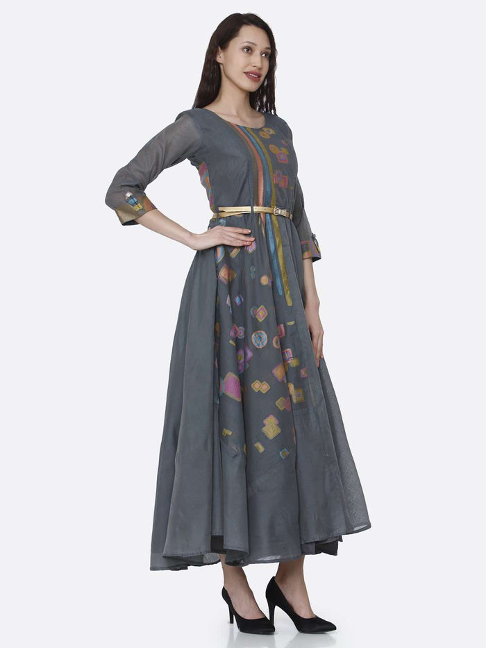 Right Side Grey Chanderi Cotton Jacquard Dress