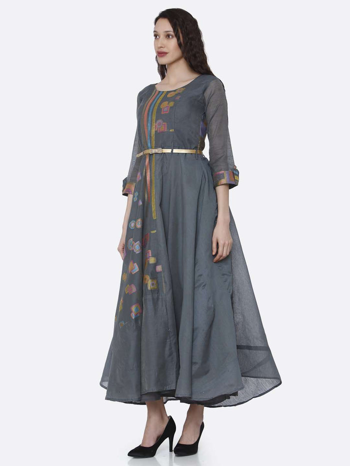 Left Side Grey Chanderi Cotton Jacquard Dress