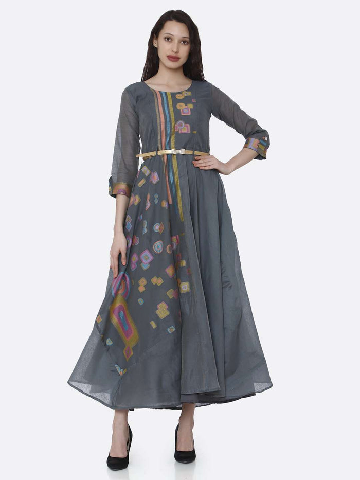 Front Side Grey Chanderi Cotton Jacquard Dress
