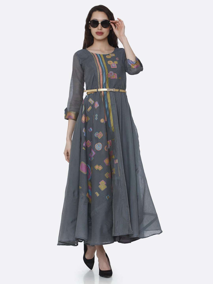 Casual Chanderi Cotton Jacquard Dress With Grey Color