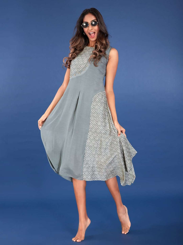 Grey Viscose Printed Asymmetric Dress