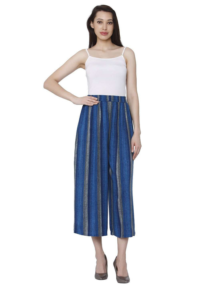 Front Side Cotton Rayon Printed Palazzo Pant With Blue Color